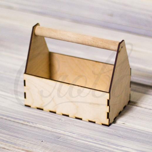 Ящик под цветы c деревянной ручкой , фанера К027