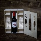 Подарочная коробка для бутылки и бокалов V011