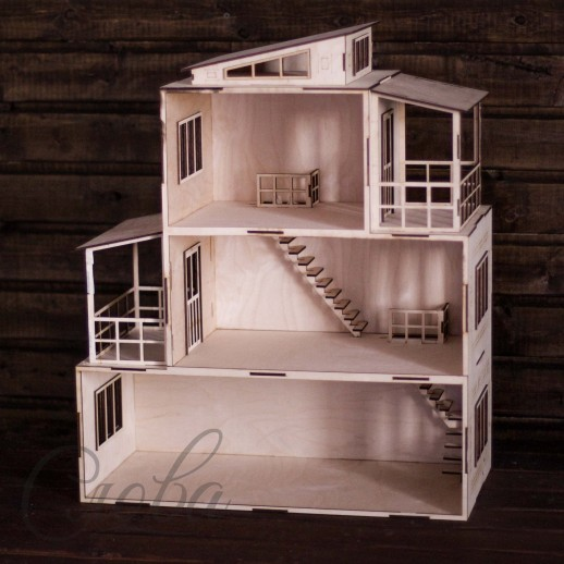 Дом 3-этажный с верандой KD005